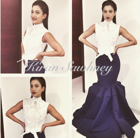 Gauahar Khan in Alpana & Neeraj gown. Femina Beauty Awards. Mumbai.