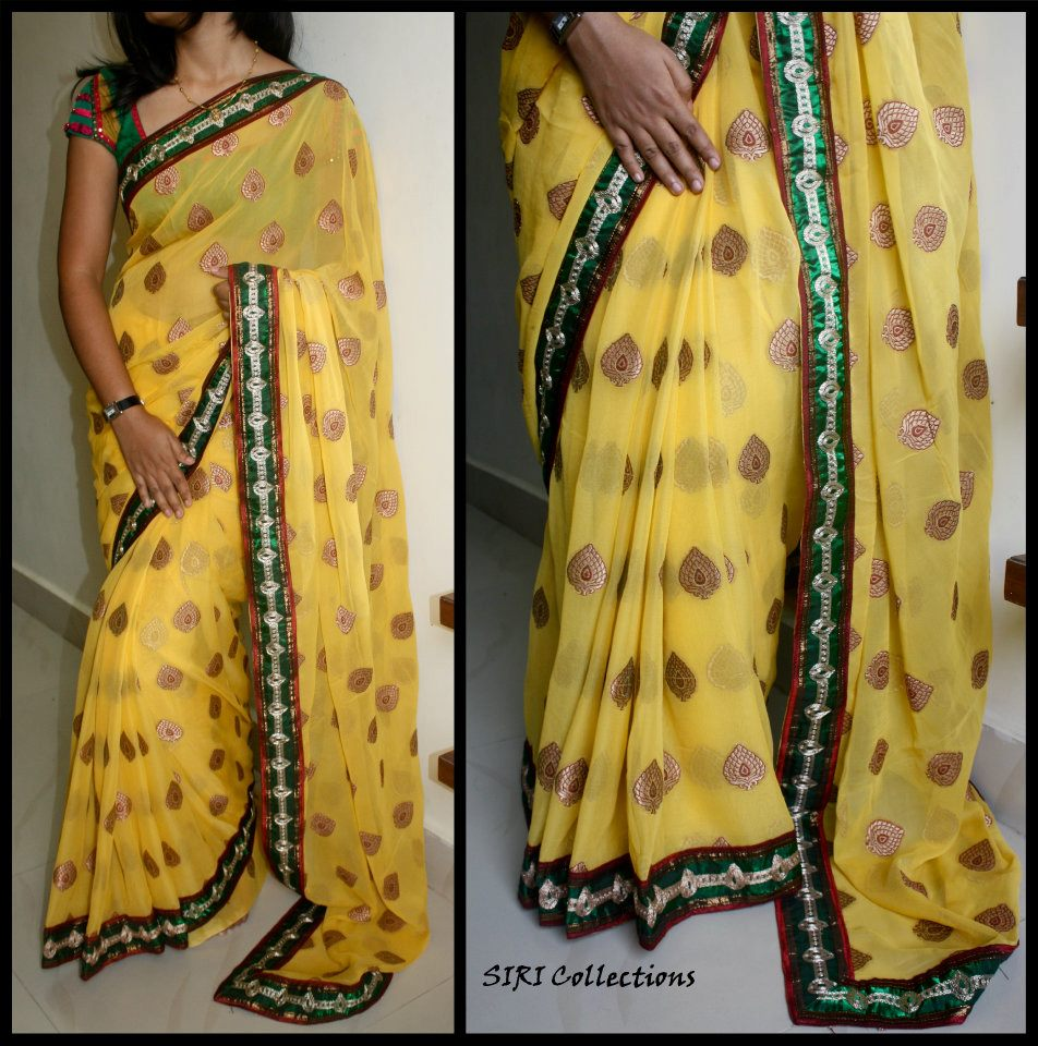 transparent yellow leaf patch work saree