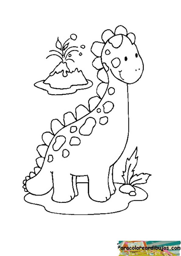 Moderno Lindo Bebé Dinosaurio Para Colorear Colección de Imágenes ...