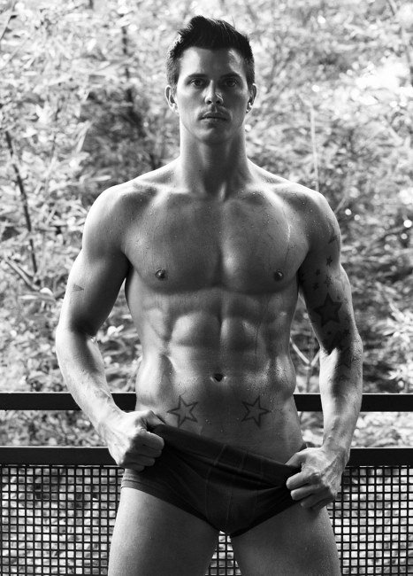 Kenny Braasch shirtless in black and white