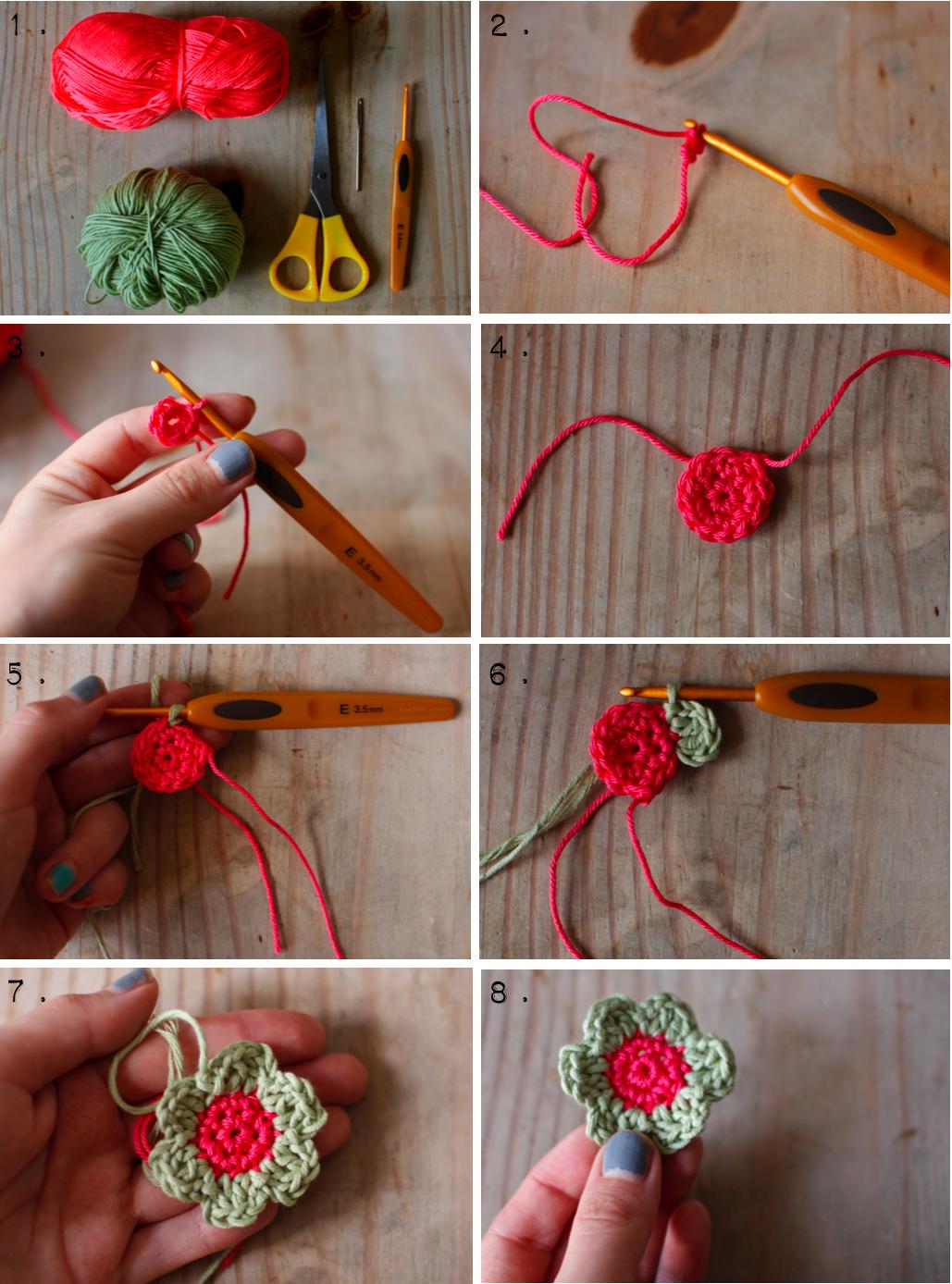 Crochet Simple Flower Tutorial : Crochet Flowers, Crochet Ideas, Crochet Flower Clips ...