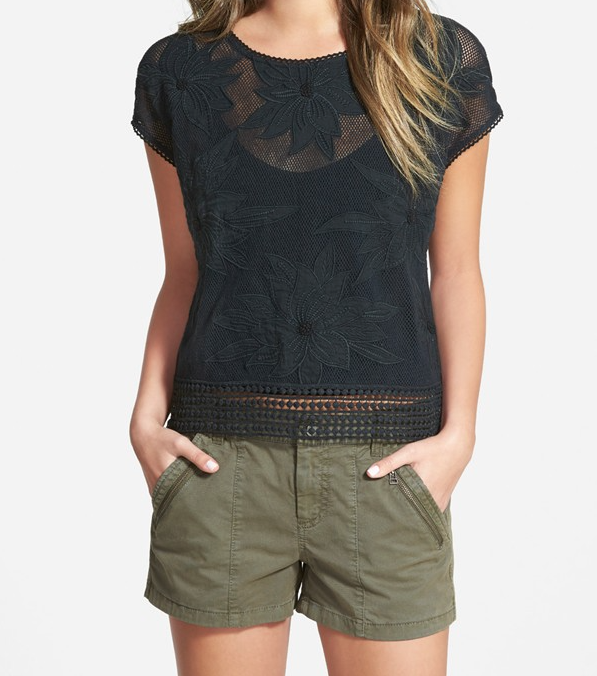 Summer Fashion -  Hinge Floral Appliqué Top