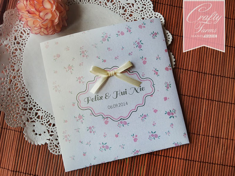 Floral Pink Vintage Themed Square Pocket Wedding Card with Ribbon