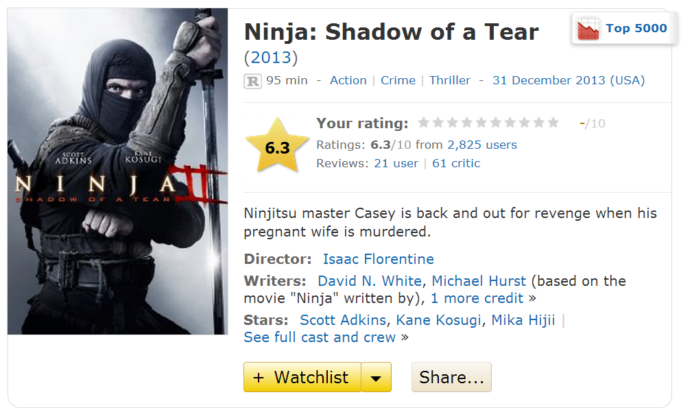 Ninja Shadow Of A Tear 2013 Movie IMDB Info