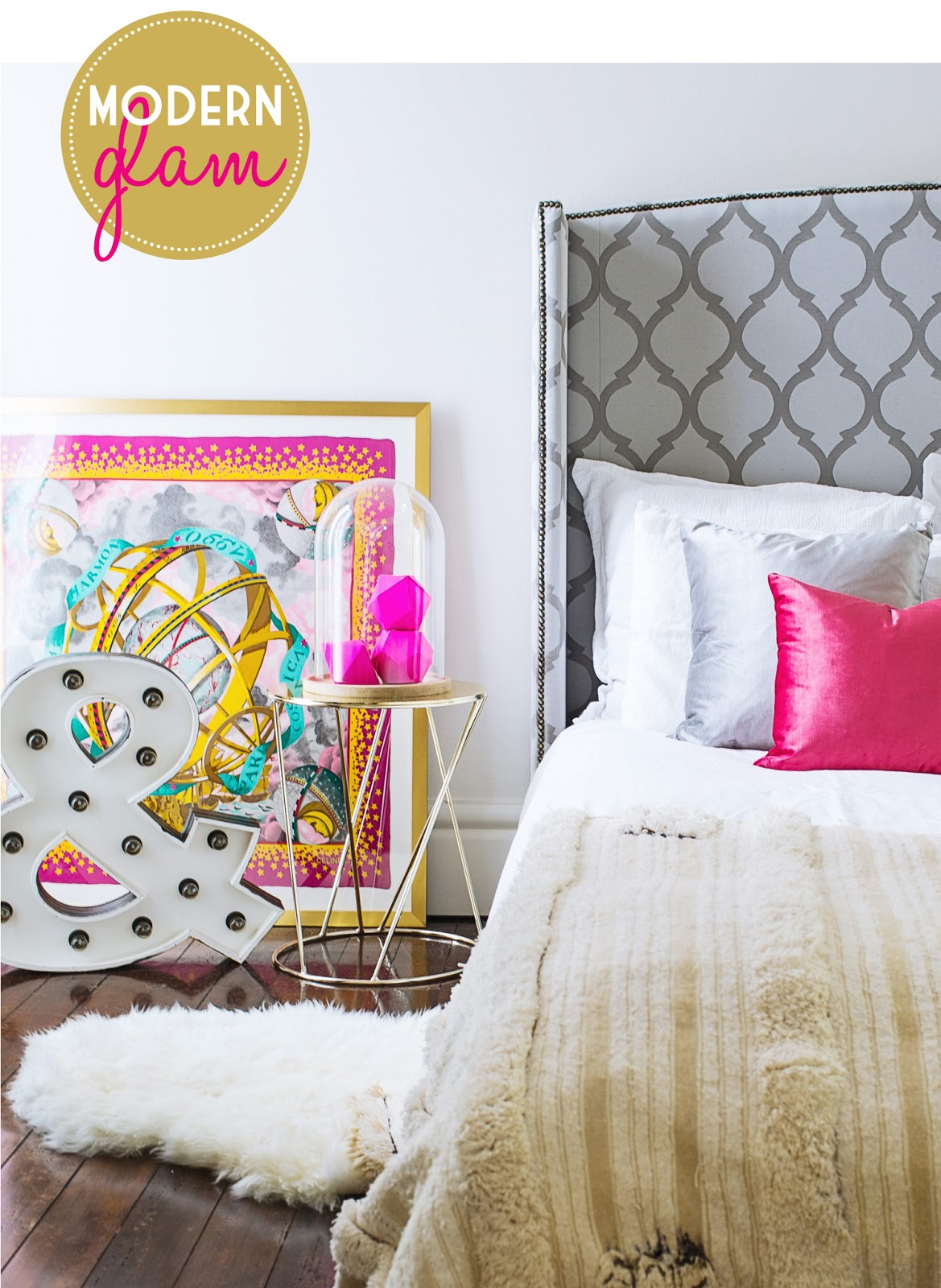 Lotus  Fig In Print Bold Color - Modern glam bedroom