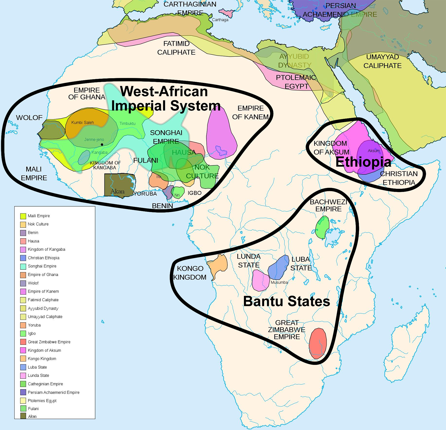 this map of indigenous african empires is not exhaustive it spans two thousands years from 500 b c to 1500 a d so these empires were not concurrent