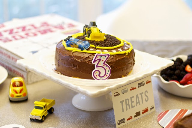 Boy homemade car construction site birthday cake