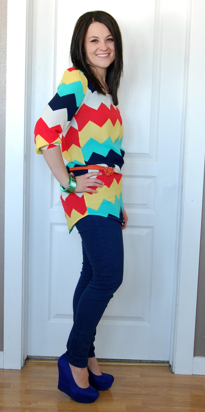 Jean Girl GIVEAWAY! WIWW Colorful Chevron and Skinnies - Girl Loves Glam