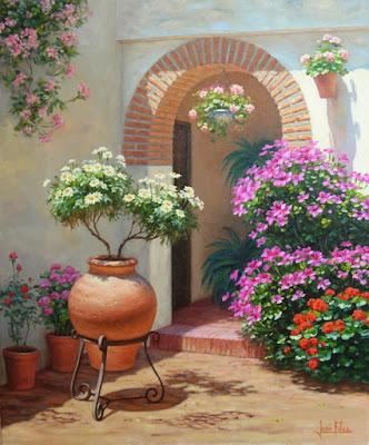 oleo patio de casa española con flores