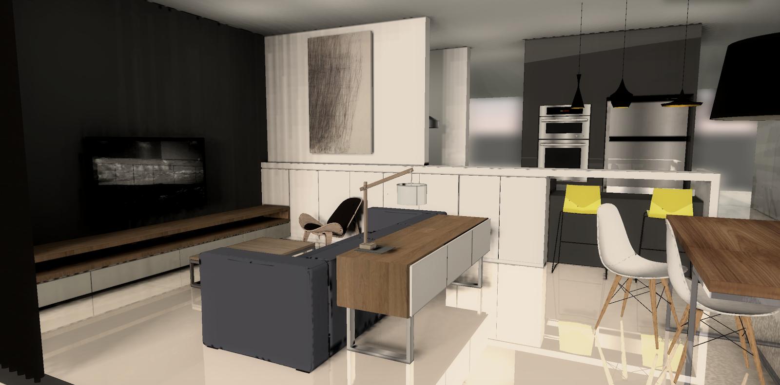 fukusu: interior design for open concept living room + dining room