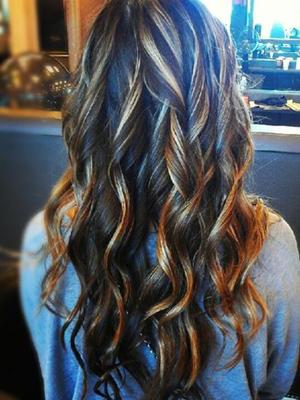 mechas localizadas ondas peinados