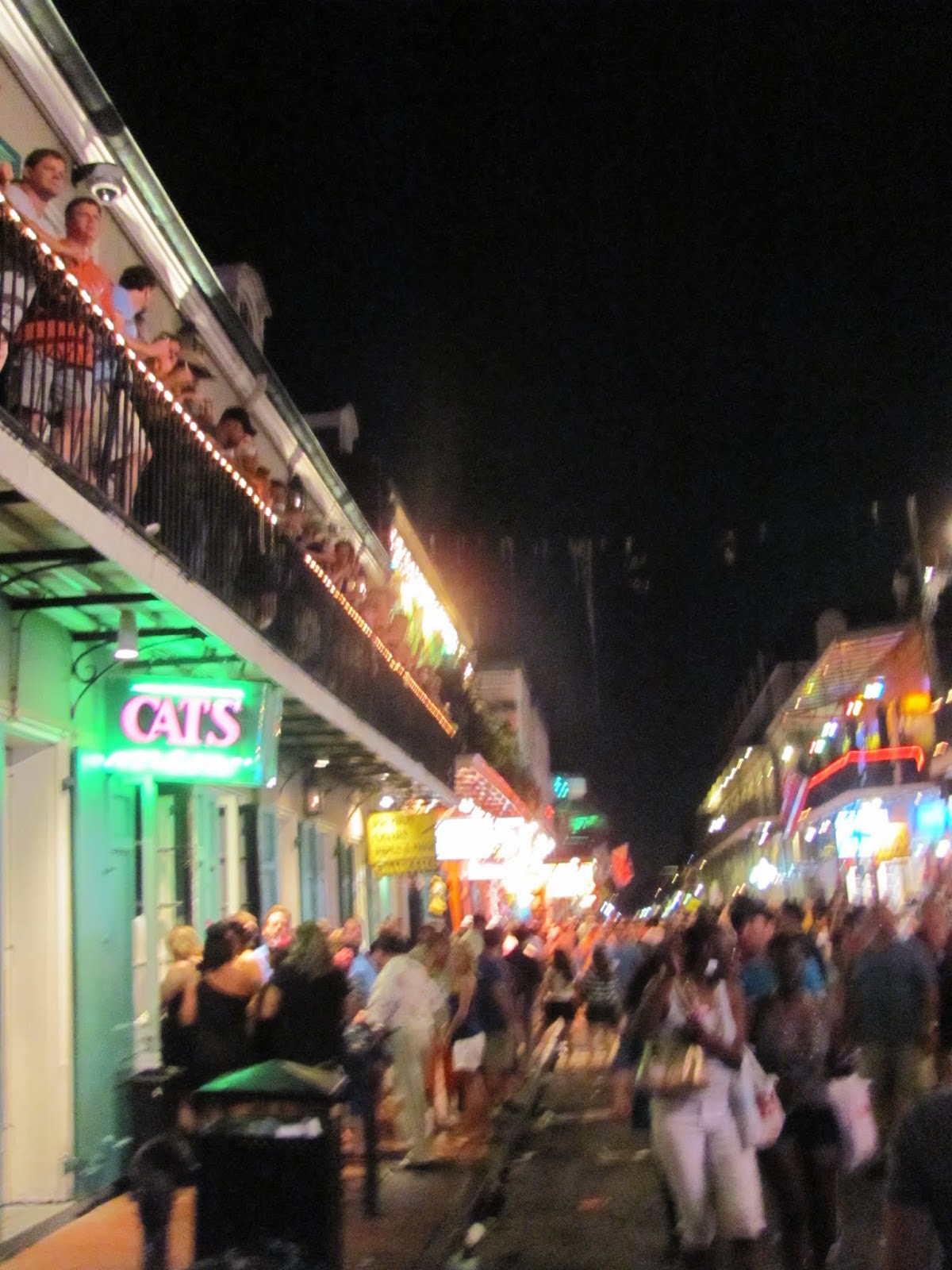 A shot of Bourbon Street in New Orleans, LA at night
