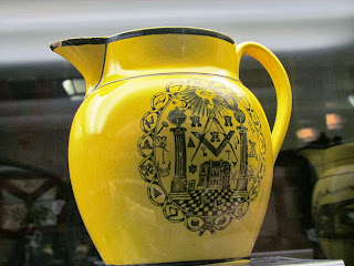 Freemason, jug, yellow, masonic merchandise