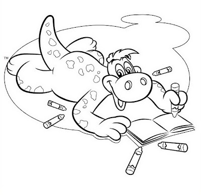 Dinosaurio leyendo libro para colorear ~ 4 Dibujo