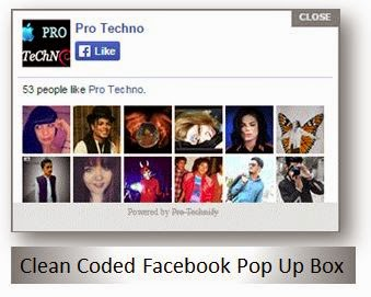 Facebook popup like box