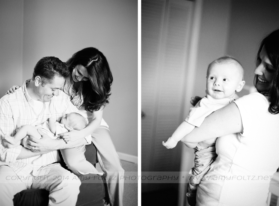 Terre Haute photographer - black and white photos of a baby and his parents