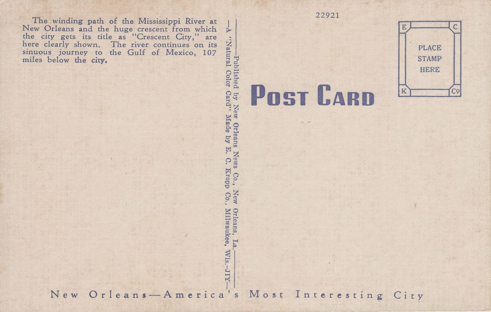 Mississippi River Crescent, New Orleans, LA Vintage Postcard