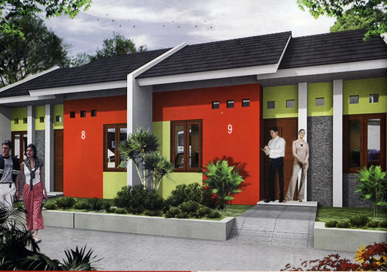 Exterior  Rumah Minimalis Kombinasi Cat Warna Merah