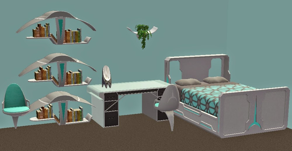 TheNinthWaveSims The Sims 2 Sci Fi Bedroom Set For The