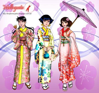 Magali, Keika e Mônica de kimono