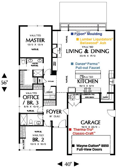 Diseño y Plano de casa de 1 piso con garaje