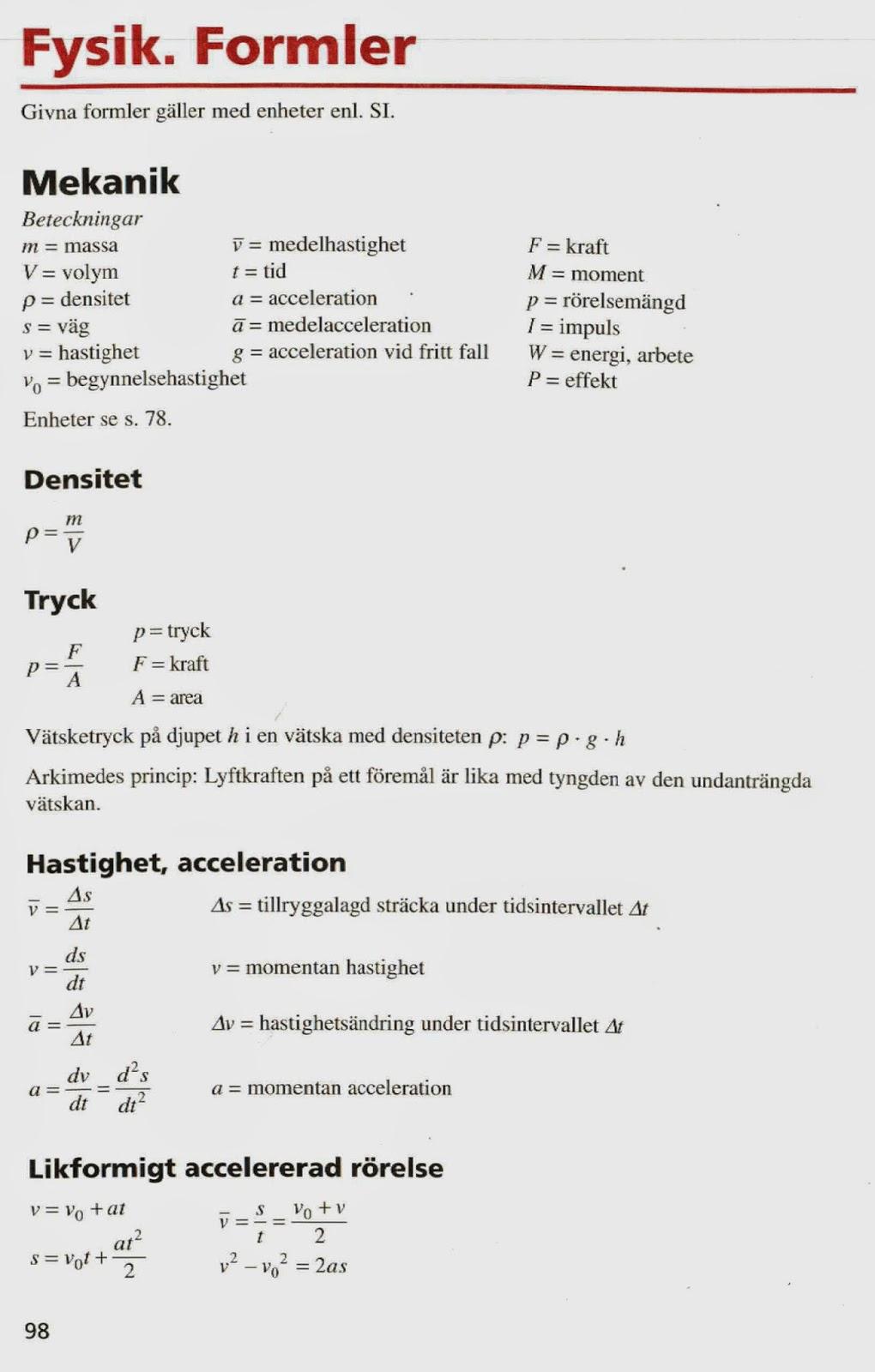 fysik formelsamling a