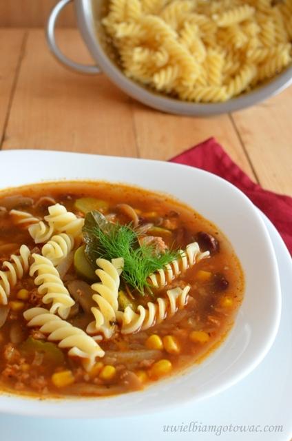 Pikantna zupa z mięsem mielonym i makaronem