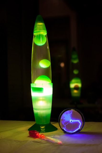 Lava lamp, plasma disk, fiberoptic finger lights for a Science Party
