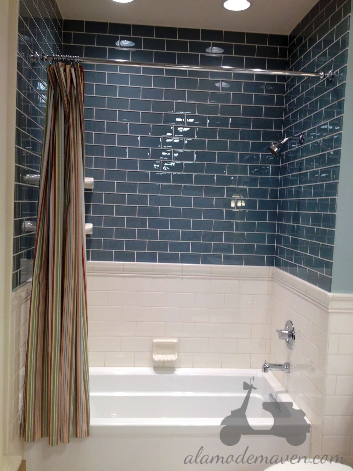 Glass tile shower on pinterest glass tiles tile and subway tile showers - Bathroom subway tile backsplash ...