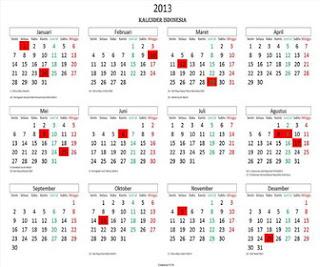 hari libur kalender tahun 2013