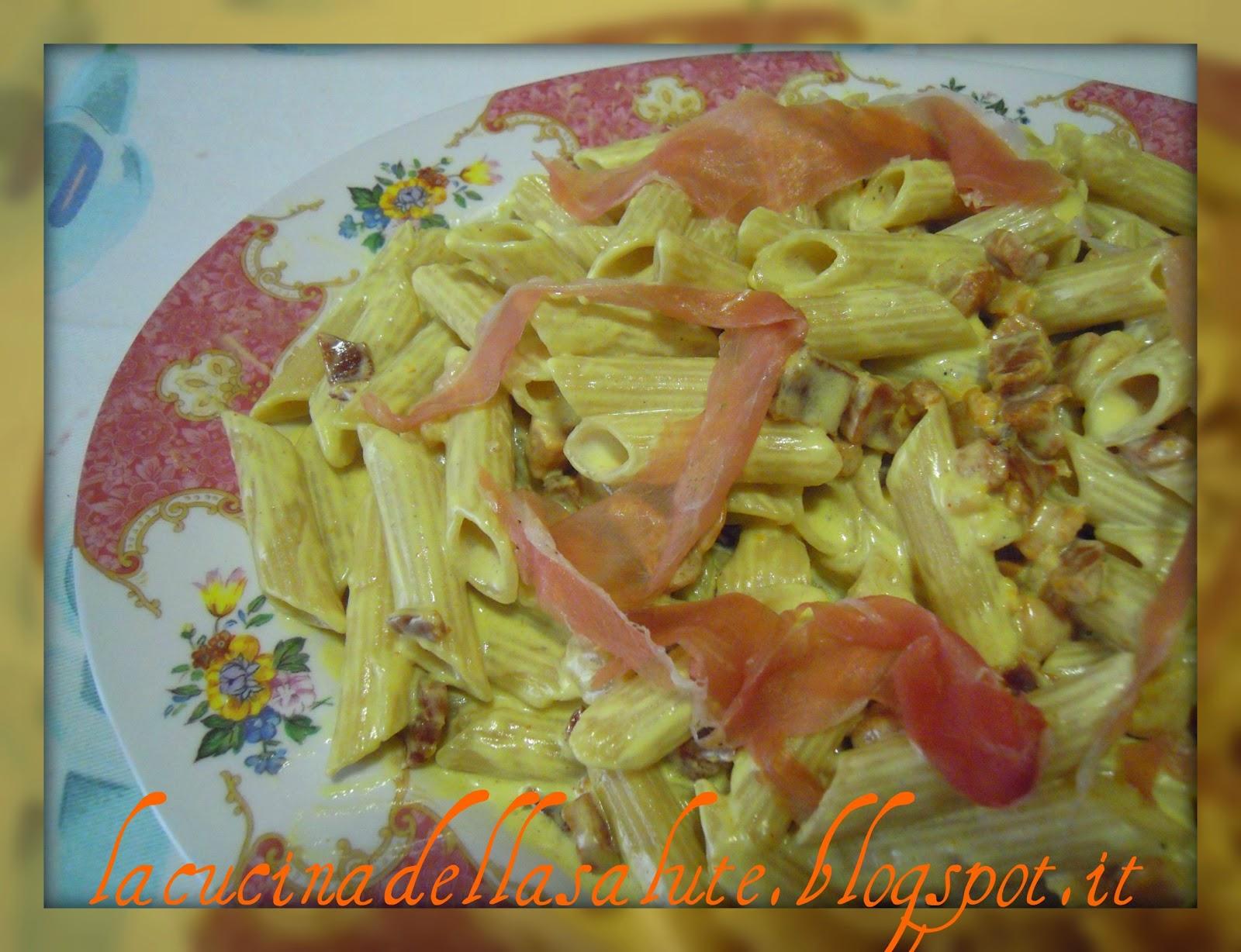 La cucina della salute penne rigate al riso semigreggio al mascarpone speck e zafferano - Giornali di cucina ...