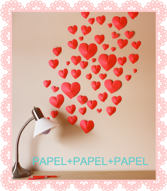 3D PAPER HEART WALL ART CORAZONES 3D EN PAPEL PARA PARED