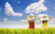 Imagens de Fundo: Imagem de FundoDuas meninas a olhar para o céu (duas meninas olhar para ceu imagens imagem de fundo wallpaper para pc computador tela gratis ambiente de trabalho)