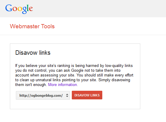 webmasters disavow tool