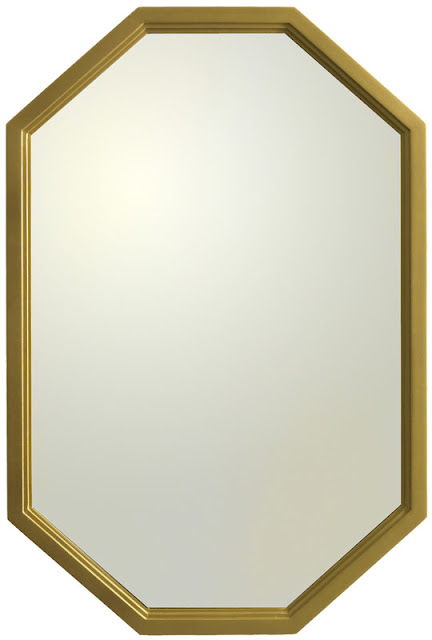 Octagon mirror with brass finish on wood fram