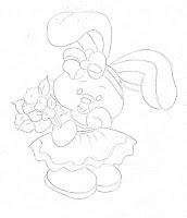 """""""risco de coelha com flores"""""""