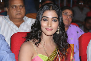 Pooja Hegde in Colorful Saree and Strapless Blouse at Manam 100 Days Event Cute Smiling Beauty