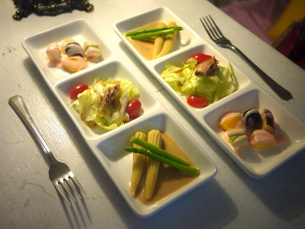 田園沙拉+優格水果+番茄鮪魚