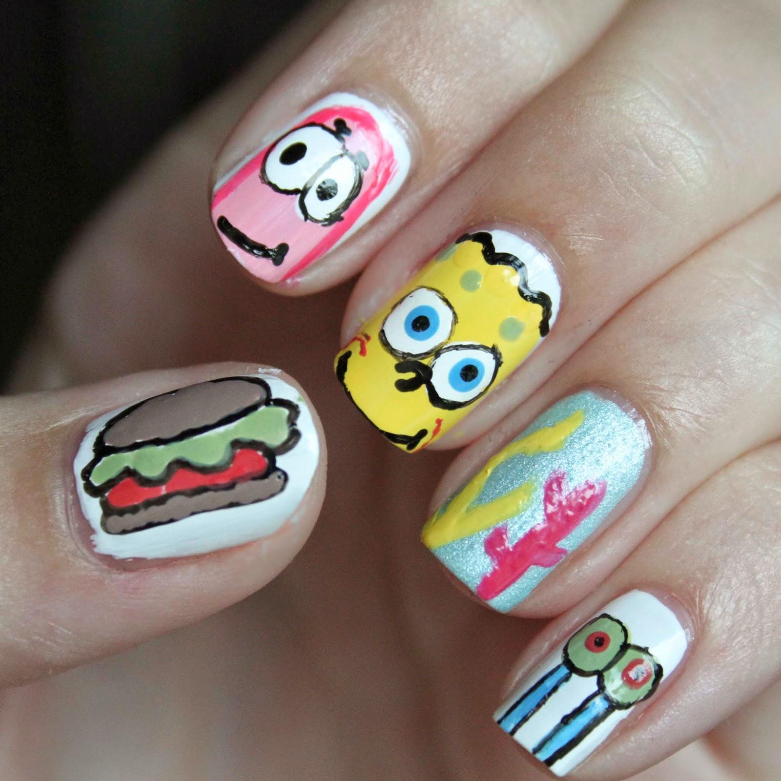 Elaine Nails Spongebob Nail Art