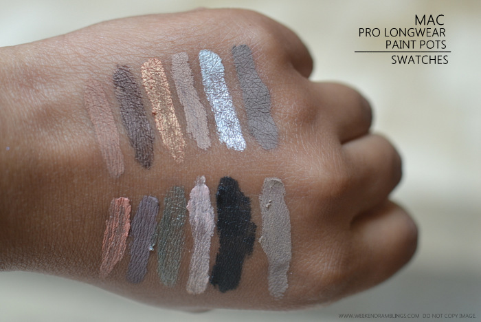 MAC Pro Longwear Makeup Collection Paint Pots Swatches Layin Low Contructivist Rubenesque Painterly Chrome Angel Tailor Grey - Perky Stormy Pink Antique Diamond Lets Skate Blackground Camel Coat Indian Darker Skin Beauty Blog