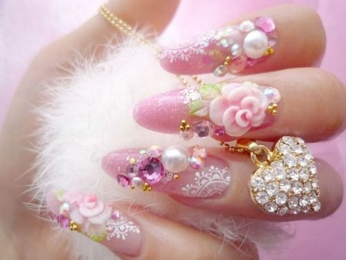 Cute Pink Fully Accented with Stones,Beads and Jewelry Nail Art