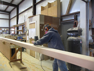 Shaping wooden box section mast
