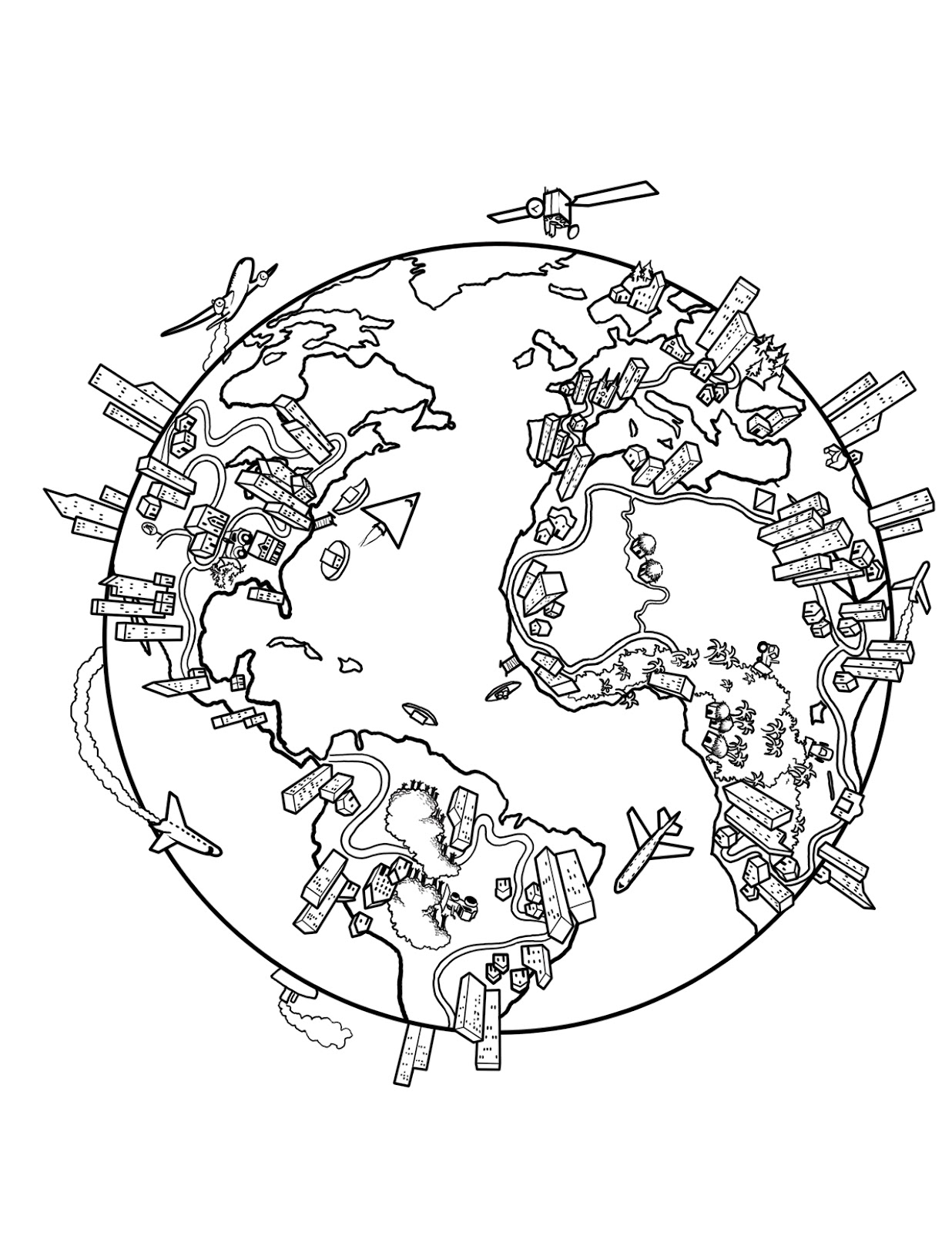 Map of the world coloring page for kids for Maps coloring pages