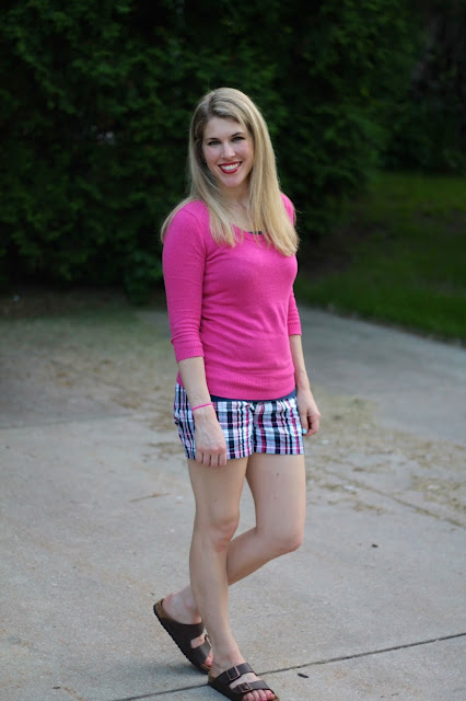 plaid shorts, pink sweater, birkenstock sandals
