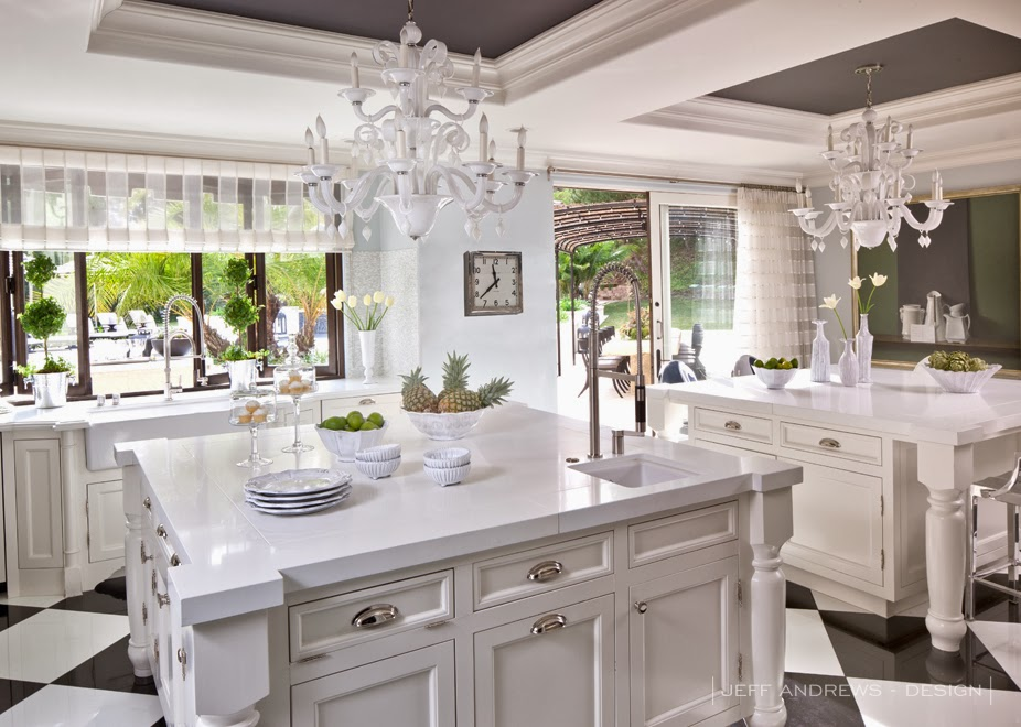 Kris Jenner's black and white kitchen