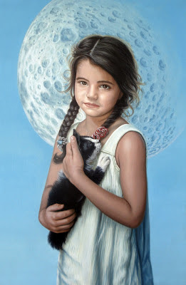 retrato-de-niña-con-gato-al-oleo