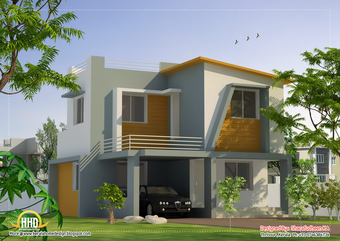 Kerala home design and floor plans 1400 3 bedroom Modern square house