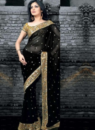 Black Women Bengali party Saree