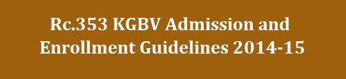 KGBV Admissions Enrollment Guidelines