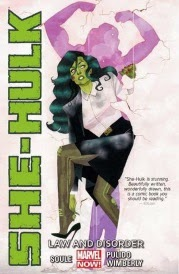 Cover of She-Hulk, featuring a green woman shrugging into a suit and heels as she bursts through a hole in a wall. The hole is shaped like her own silhouette with arms raised and muscles flexed.